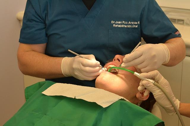 zubař, vyšetření, ruce, přístroj